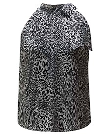 INC Cheetah-Print Tie-Neck Top, Created for Macy's