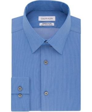 Calvin Klein MEN'S INFINITE COLOR SLIM-FIT NON-IRON PERFORMANCE STRETCH HERRINGBONE DRESS SHIRT
