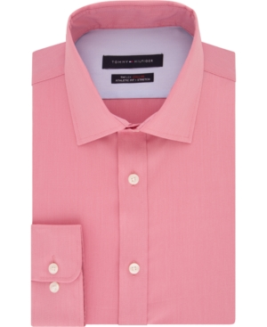 Tommy Hilfiger Men's Fitted THFlex Performance Stretch Solid Dress Shirt, Created for Macy's