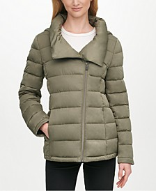 Asymmetrical Hooded Packable Puffer Coat, Created for Macy's