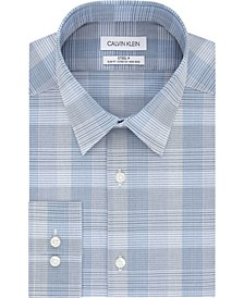 Calvin Klein Men's STEEL Slim-Fit Non-Iron Performance Stretch Purple Check Dress Shirt
