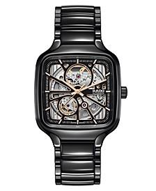 Men's Swiss Automatic True Square Open Heart Black Ceramic Bracelet Watch 38x38mm