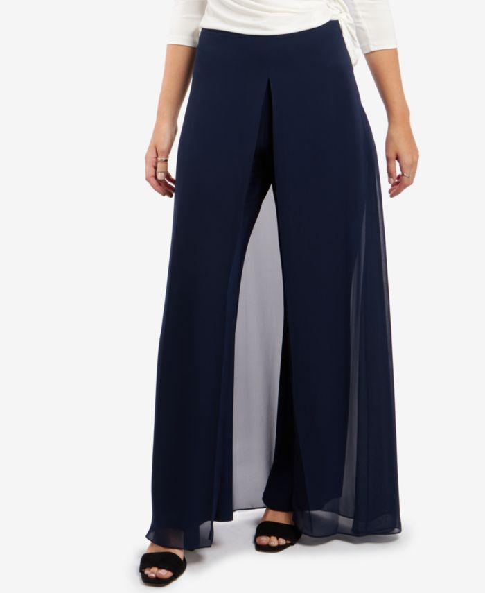 MSK Chiffon-Overlay Walk-Through Pants   & Reviews - Dresses - Women - Macy's