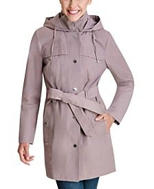 Hooded Bibbed Belted Water-Resistant Raincoat