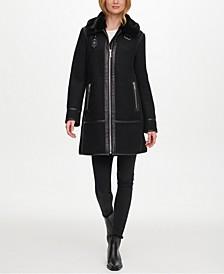 Faux-Fur & Faux-Leather-Trim Coat