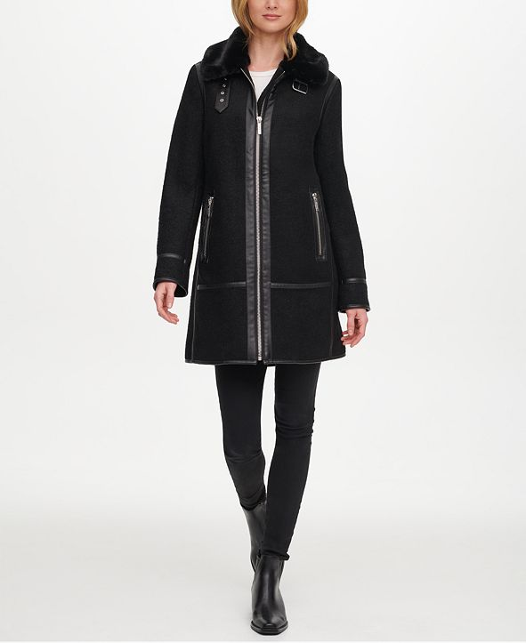 DKNY Faux-Fur & Faux-Leather-Trim Coat