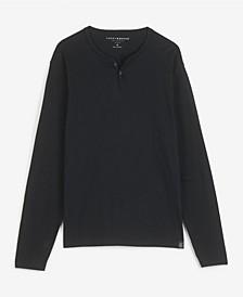 Men's Long Sleeve Mineral Wash Button Notch Knit T-shirt