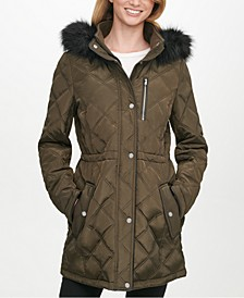 Faux-Fur-Trim Hooded Quilted Anorak Coat, Created For Macy's