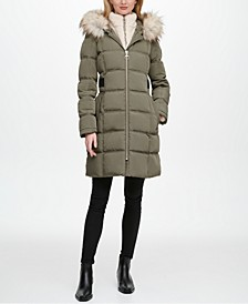 Fleece-Lined Faux-Fur-Trim Hooded Puffer Coat, Created for Macy's