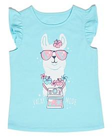 Little Girls Vacation Llama T-shirt