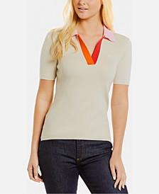 Colorblocked-Collar Top