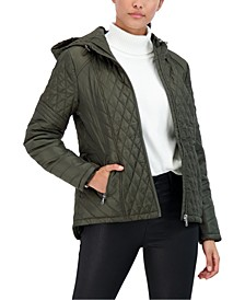 Juniors' Hooded Water-Resistant Quilted Coat