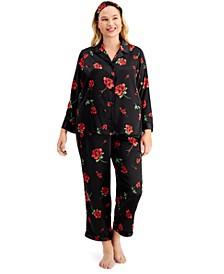 INC Plus Size Satin Pajama & Headband 3pc Set, Created for Macy's