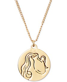 "Gold-Tone Zodiac Disc Pendant Necklace, 17"" + 3"" extender"