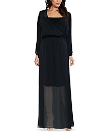 Surplice Chiffon Maxi Dress