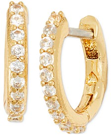 Extra-Small Pavé Huggie Hoop Earrings, 0.27""