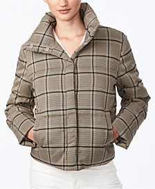 Juniors' Cropped Plaid Puffer Coat