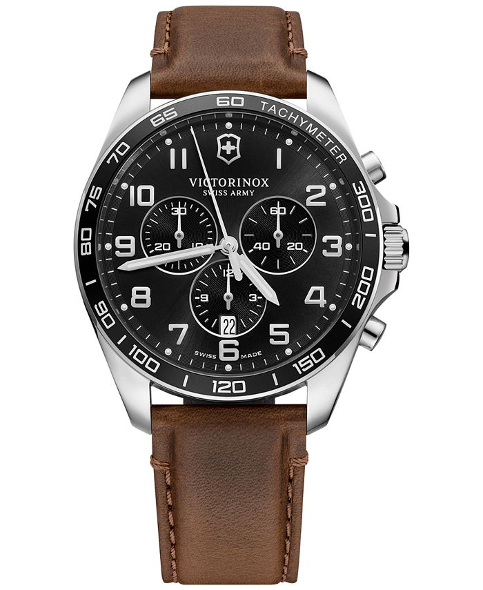 Victorinox Swiss Army - Men's Chronograph FieldForce Classic Brown Leather Strap Watch 42mm