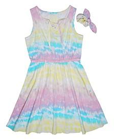 Big Girls Tie Dye Lace Up Dress