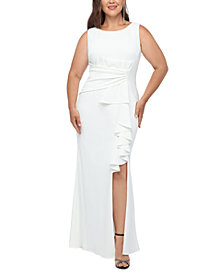 Betsy & Adam Plus Size Bow-Detail Gown