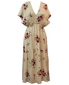 Floral-Print A-Line Midi Dress