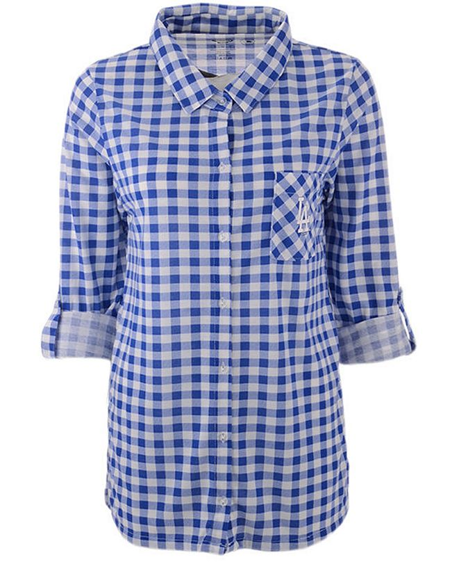 Lids Concepts Sport Women's Los Angeles Dodgers Wanderer Plaid Shirt