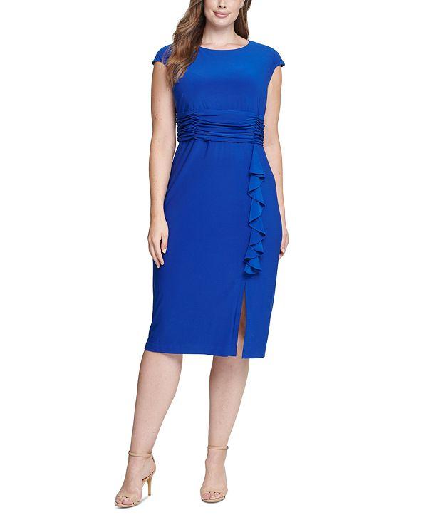 Jessica Howard Plus Size Ruffled Midi Dress