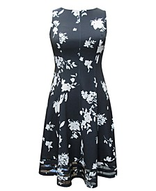 Plus Size Floral-Print Illusion-Hem Dress