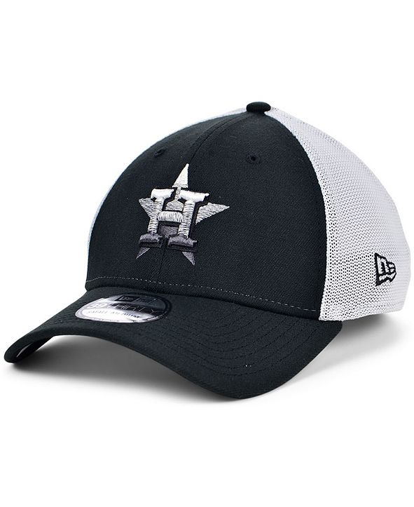 New Era Men's Houston Astros Black White Gradient Trucker 39THIRTY Cap