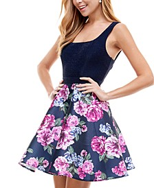 Juniors' Floral-Skirt Fit & Flare Dress