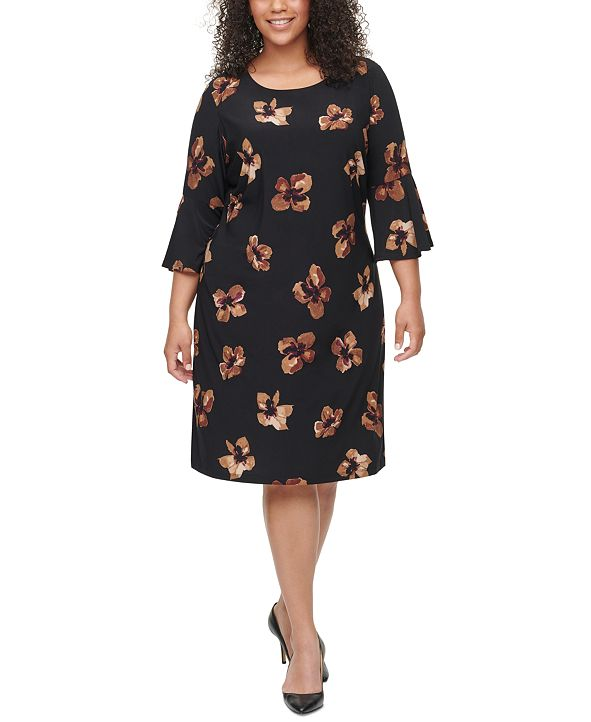 Tommy Hilfiger Plus Size Jaipur-Paisley Bell-Sleeve Dress
