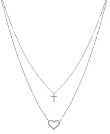 "Gratitude & Grace Cubic Zirconia Heart and Cross Layered Pendant Necklace in Fine Silver-Plate, 16"" + 2"" extender"