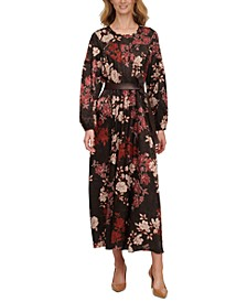 Floral-Print Jacquard Belted Maxi Dress