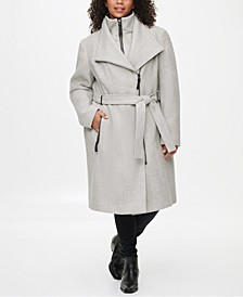 Plus Size Faux-Leather-Trim Belted Coat, Created for Macy's