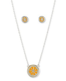 2-Pc. Set Enamel Orange Slice Pendant Necklace & Matching Stud Earrings in Fine Silver-Plate, Created for Macy's