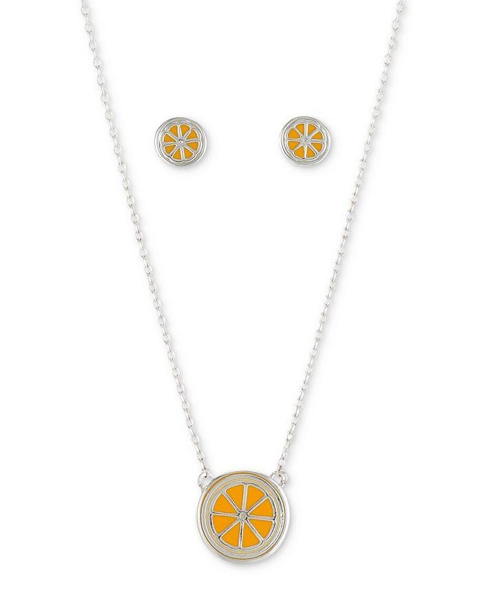 Unwritten - 2-Pc. Set Enamel Orange Slice Pendant Necklace & Matching Stud Earrings in Fine Silver-Plate