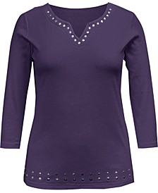 Cotton Split-Neck Grommet Top, Created for Macy's