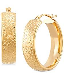 Small Weave Texture Wide Tube Hoop Earrings in 14k Gold