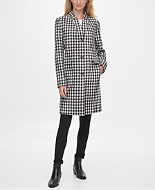 Single-Breasted Houndstooth Reefer Coat, Created for Macy's