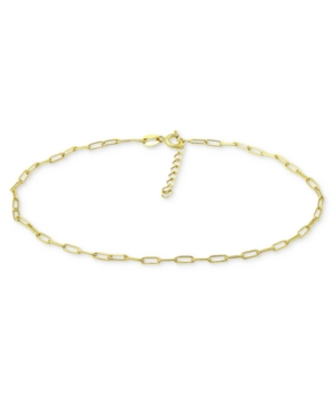 Paperclip Link Ankle Bracelet in Sterling Silver and 18k Over Silver