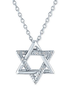 """Diamond Accent Star of David Pendant Necklace in Sterling Silver, 16"""" + 2"""" extender"""