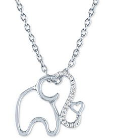 "Diamond Accent Elephant Pendant Necklace (1/20 ct. t.w.) in Sterling Silver, 16"" + 2"" extender"