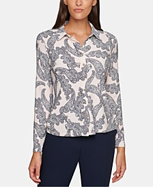 Paisley-Print Button-Front Top