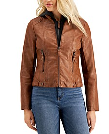 Juniors' Faux-Leather Hoodie Jacket