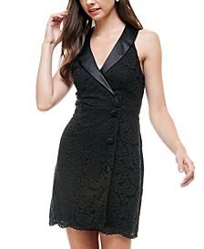 Juniors' Lace Halter Tuxedo Dress