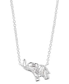 "Crystal Baguette Elephant Pendant Necklace in Fine Silver-Plate, 16"" + 2"" extender"