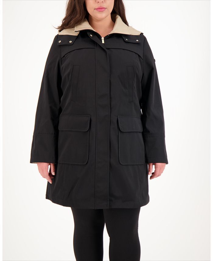 Jones New York - Plus Size Hooded Raincoat