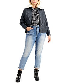 Juniors' Trendy Plus Size Faux-Fur-Collar Faux-Leather Jacket