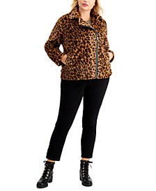 Juniors' Trendy Plus Size Faux-Fur Leopard Moto Jacket