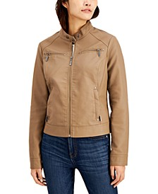Juniors' Faux-Leather Jacket